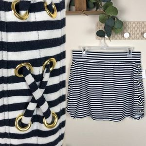 Crown & Ivy NWT navy & white striped skirt medium